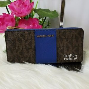 Michael Kors Center Stripe Jet Set Large Wallet